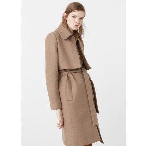 Belt wool coat - Woman