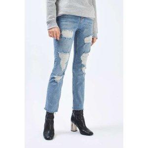 MOTO Bleach Super Ripped Straight Leg Jeans - Topshop USA