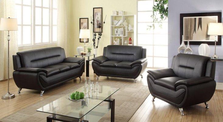 $670 Norton 3 pc Black Faux Leather Modern Living Room Sofa set