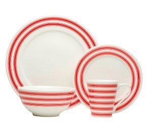 $39.99Red Race Stripe White Dinner Set (Set of 16)