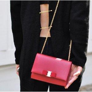 Salvatore Ferragamo Miss Vara Saffiano Leather Bow Chain Wallet