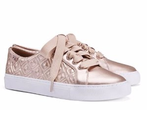 Marion Quilted Metallic Leather Sneakers @ Tory Burch