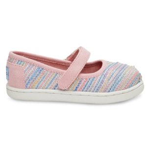 PINK METALLIC WOVEN TINY TOMS MARY JANES