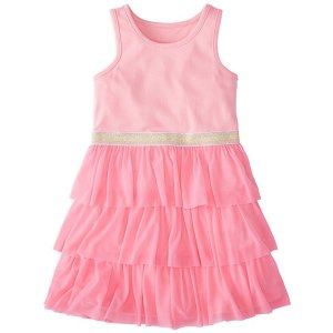 Girls Swish Sparkle Dress With Tulle Tiers | Girls Dresses