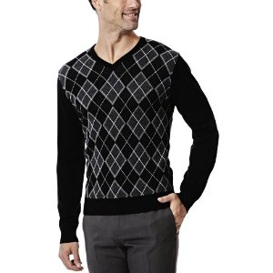 Long Sleeve Argyle Sweater