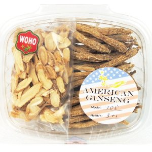 WOHO #105 American Ginseng Long Small Root 3oz +FREE American Ginseng Slice Small 1oz