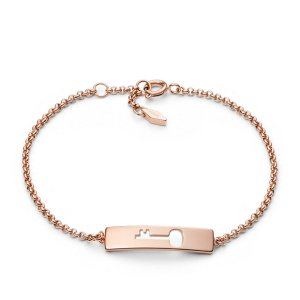 Cutout Key Plaque Rose-Tone Bracelet - Fossil