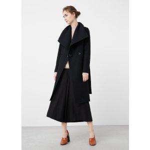 Wide lapel wool-blend coat