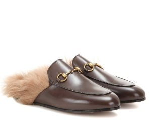 GUCCI Princetown Fur-Lined Leather Slippers