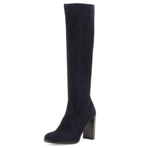 Stuart Weitzman Giveitup Suede Knee Boot, Navy