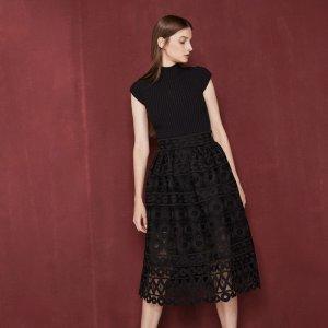 JASPE Midi bonded guipure skirt - Skirts & Shorts - Maje.com
