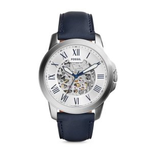 Grant Automatic Navy Leather Watch - Fossil
