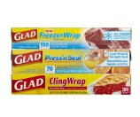 Glad Plastic Food Wrap Variety Pack, 420 Square Feet , 3 Count
