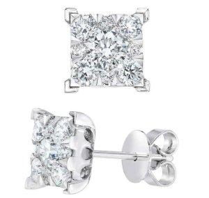 2016 Black Friday! $400 OFF1.40ctw Princess cut Diamond stud  Earrings