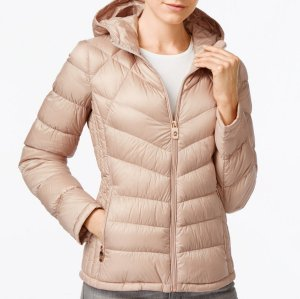 $118.99 (reg $190) + $20 Macy's Money Reward Card MICHAEL Michael Kors Chevron-Quilted Hooded Packable Down Puffer Coat