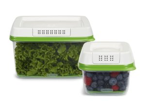 Rubbermaid 2 Piece FreshWorks Produce Saver Food Storage Container Set