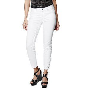 Fianna Lace-Up Ankle Jeans in True White Wash | GuessFactory.com
