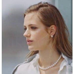 Mikimoto 7MM White Cultured Akoya Pearl & 18K White Gold Stud Earrings