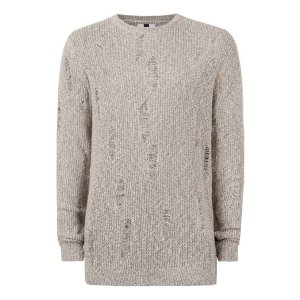 Stone Twist Ripped Slim Fit Sweater - Men's Cardigans & Sweaters - Clothing - TOPMAN USA