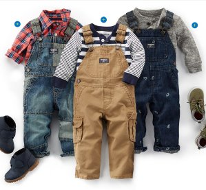 Up to 60% Off + 25% off $40+!Free Shipping with Baby Clothes All-American Baby World's Best Overalls Sale @ OshKosh.com