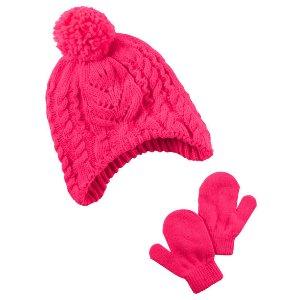 Toddler Girl Neon Hat & Mitten Set   Carters.com