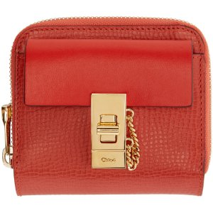 Chloé: Red Leather Square Drew Wallet