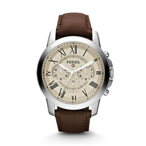 Q Grant Chronograph Dark Brown Leather Smartwatch - Fossil