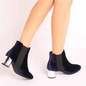 Samira Metallic Heel Ankle Boots in Navy Velvet | Public Desire
