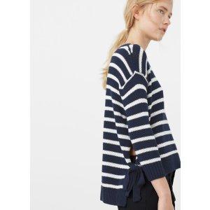 Side slit cotton-blend sweater - Woman