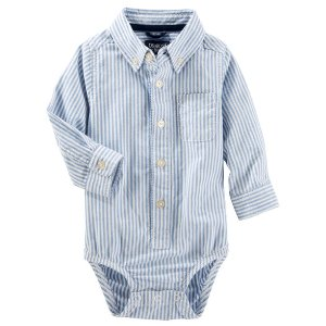 Baby Boy Striped Button-front Oxford Bodysuit | OshKosh.com