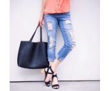 Street Level Faux Leather Pocket Tote