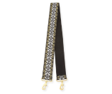 Rebecca Minkoff Geometric Jacquard Guitar Strap for Handbag, Black/Multi