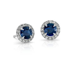 Sapphire and Micropavé Diamond Stud Earrings in 18k White Gold (5mm) | Blue Nile