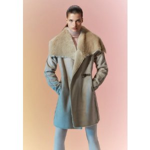 belted faux shearling toggle coat