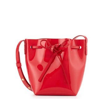 $345 Mansur Gavriel Mini Mini Patent Leather Bucket Bag