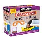 $13.54 Kirkland Signature Drawstring Kitchen Trash Bags - 13 Gallon - 200 Count