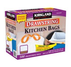 Kirkland Signature Drawstring Kitchen Trash Bags - 13 Gallon - 200 Count