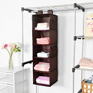 MaidMAX 5-Shelf Collapsible Hanging Accessory Shelves with 2 Widen Velcros for Clothes and Shoes Storage