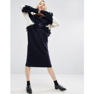 ASOS WHITE Knitted Diamond Fringe Midi Dress