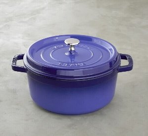 Only $103.96 Staub Cast-Iron Round Cocotte, 4-Qt, Royal Blue