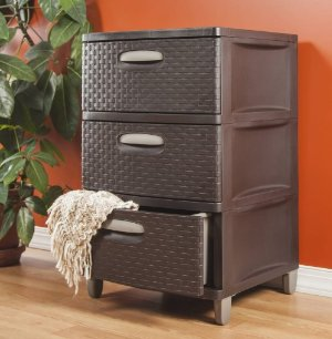 $22.44 Sterilite 25306P01 3 Drawer Wide Weave Tower, Espresso Frame & Drawers w/ Driftwood Handles, 1-Pack
