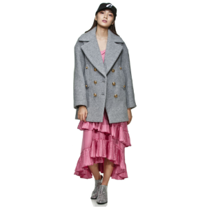[LUCKY CHOUETTE] Chic grey, Short pea coat