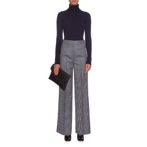 Acne Studios Micro hound's-tooth wide-leg trousers