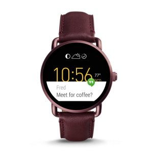 Q Wander Touchscreen Wine Leather Smartwatch - Fossil