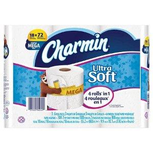 Charmin超柔软厕纸18 Mega 卷