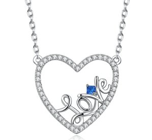 Caperci Sterling Silver Created Blue Sapphire Open Heart