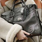 $199.99 Coach Metallic Leather Elvated Rhyder 33