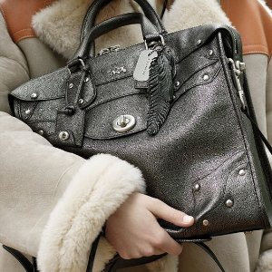 $199.99 COACH Metallic Leather Elvated Rhyder 33 Handbag On Sale @ 6PM.com