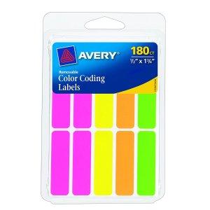 Avery Rectangular Color Coding Labels 180pk