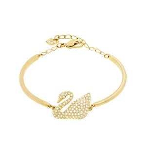 Goldtone and Crystal Swan Bangle Bracelet